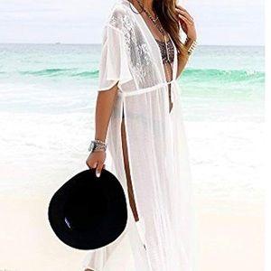 Chiffon Lace Kimono Maxi Swimsuit Cover up